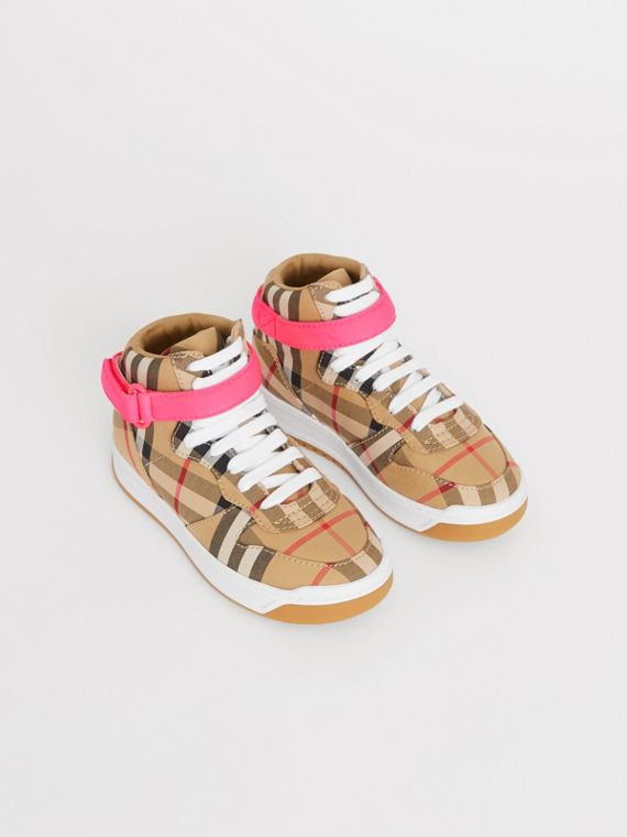 Vintage Check High-top Sneakers in Antique Yellow/neon Pink