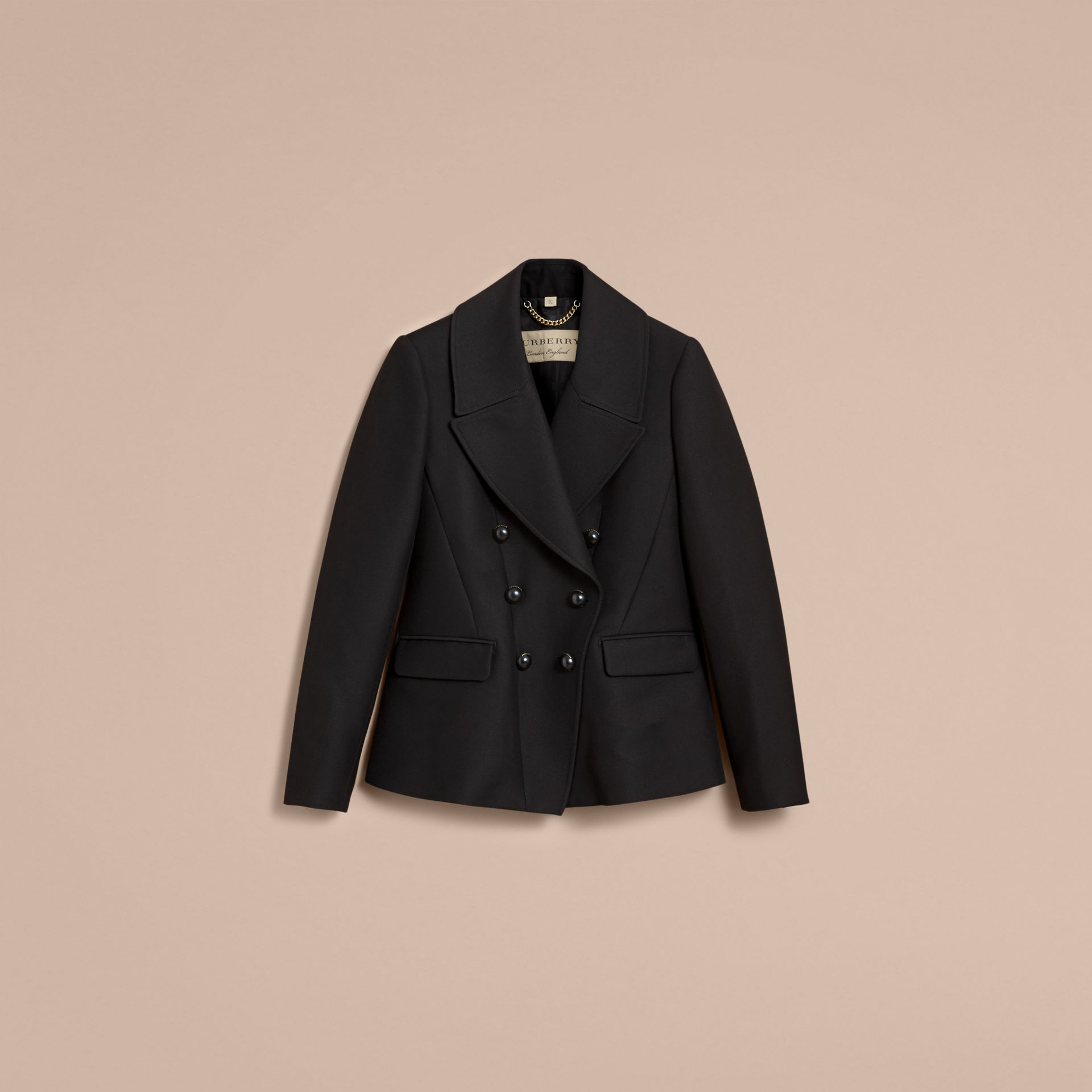 Wool Cotton Blend Tailored Double-breasted Jacket - Women | Burberry - gallery image 4