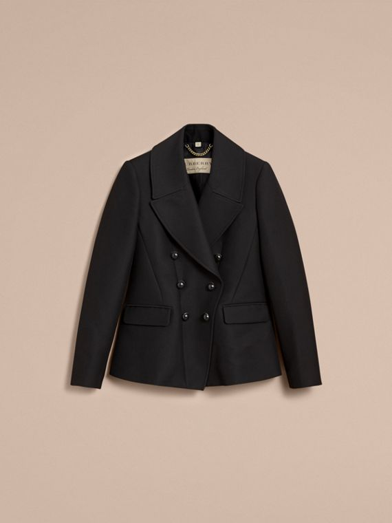 Wool Cotton Blend Tailored Double-breasted Jacket in Black - Women | Burberry - cell image 3