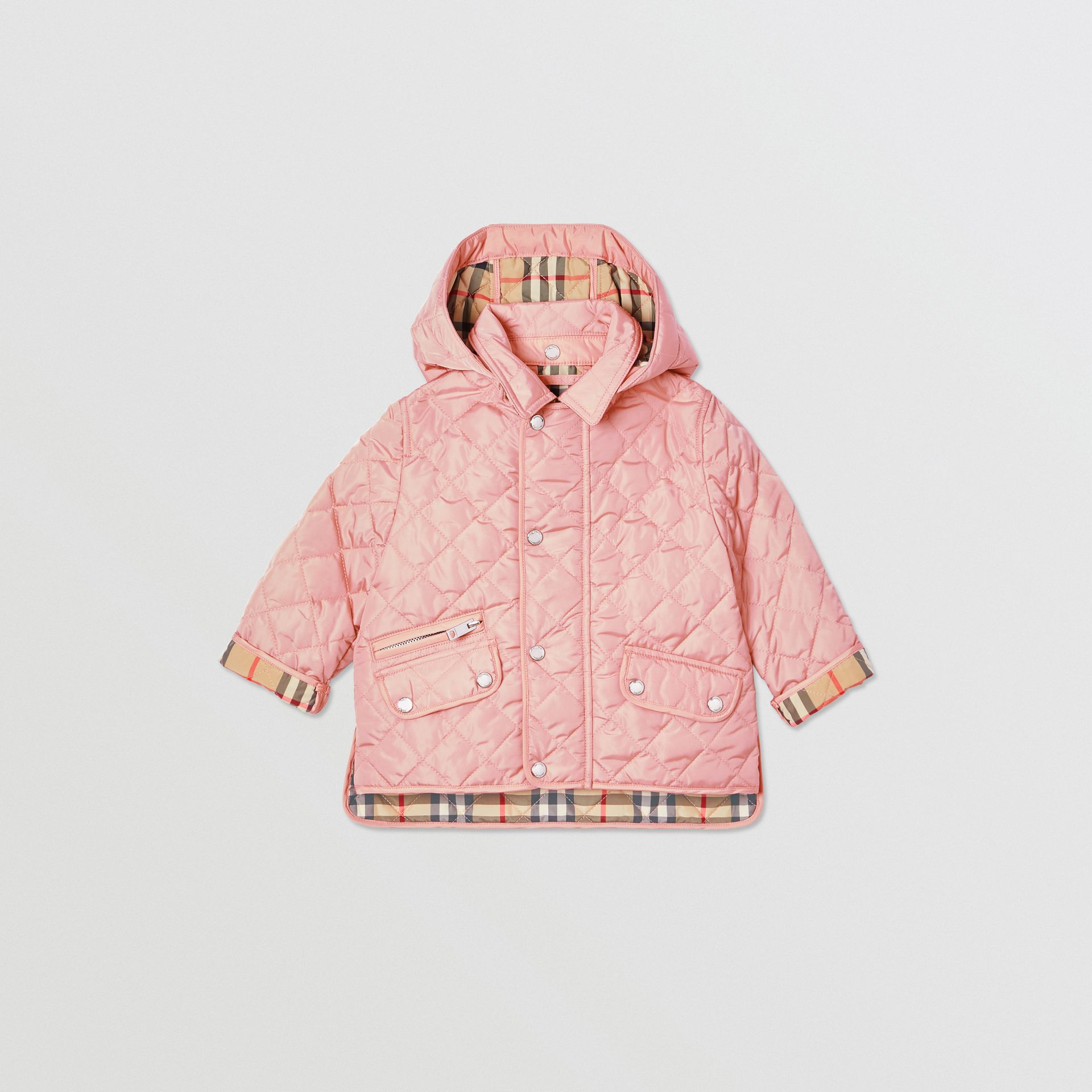 Detachable Hood Diamond Quilted Jacket in Dusty Pink - Children   Burberry - gallery image 0