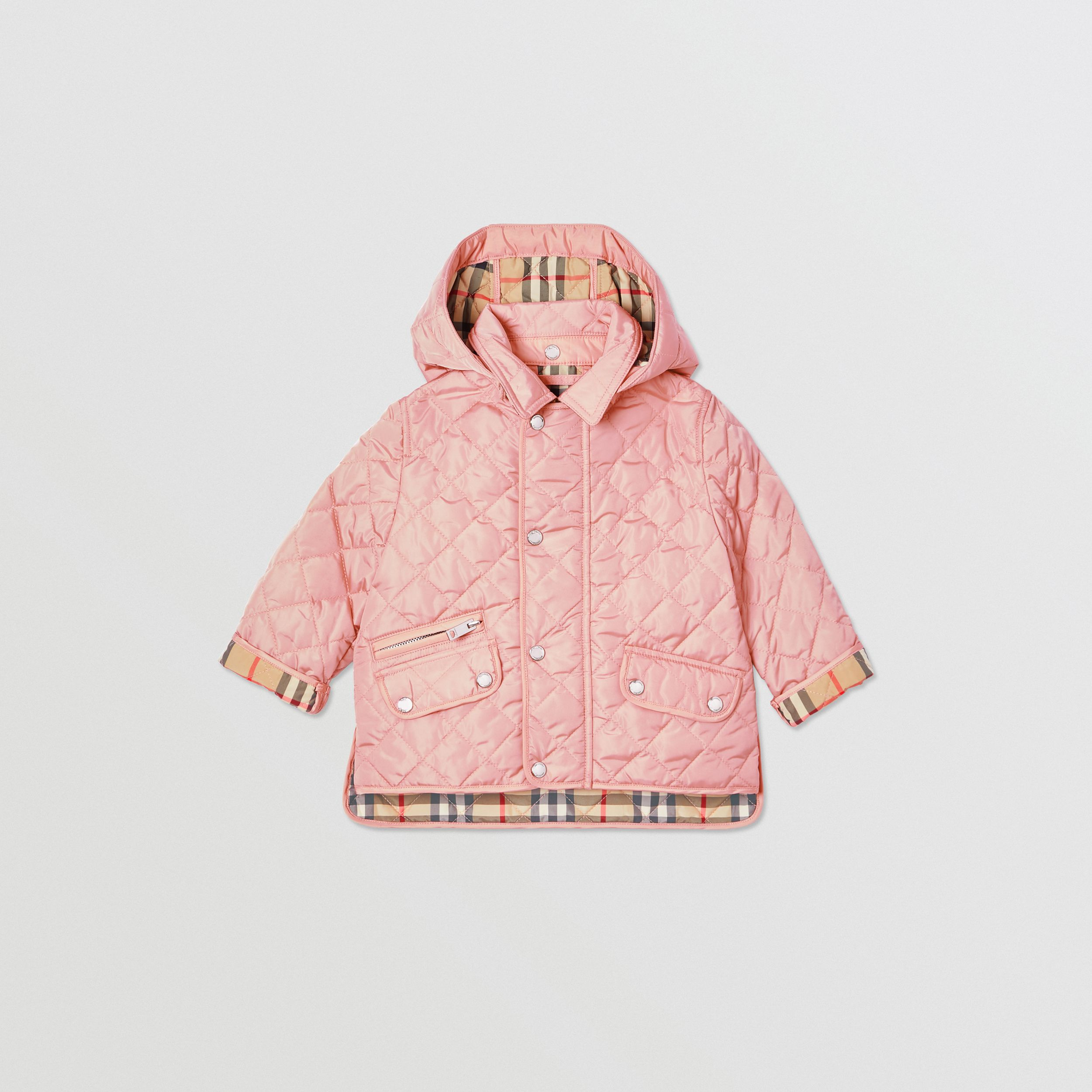 Detachable Hood Diamond Quilted Jacket in Dusty Pink - Children | Burberry - 1