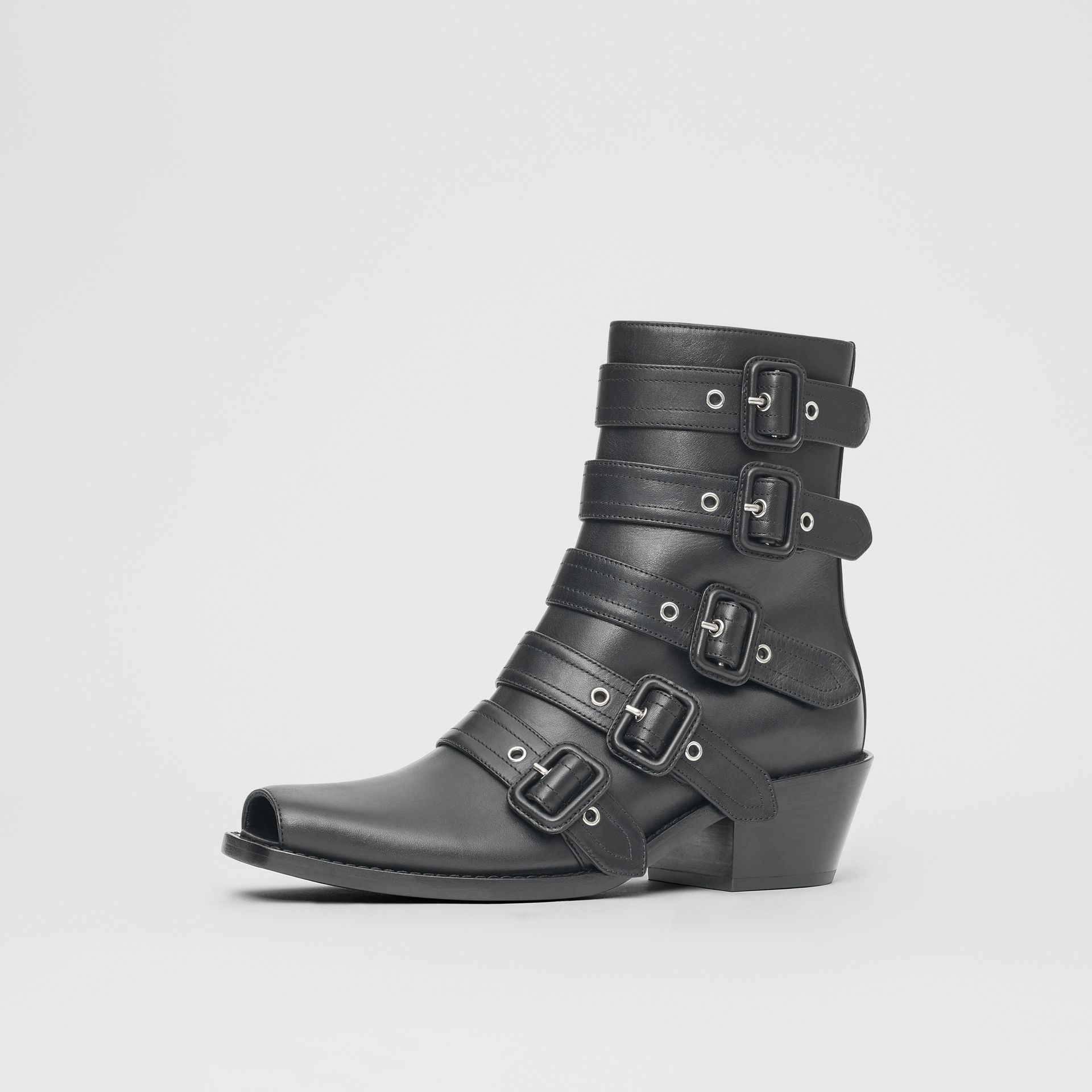 Buckled Leather Peep-toe Ankle Boots in Black - Women | Burberry - gallery image 7