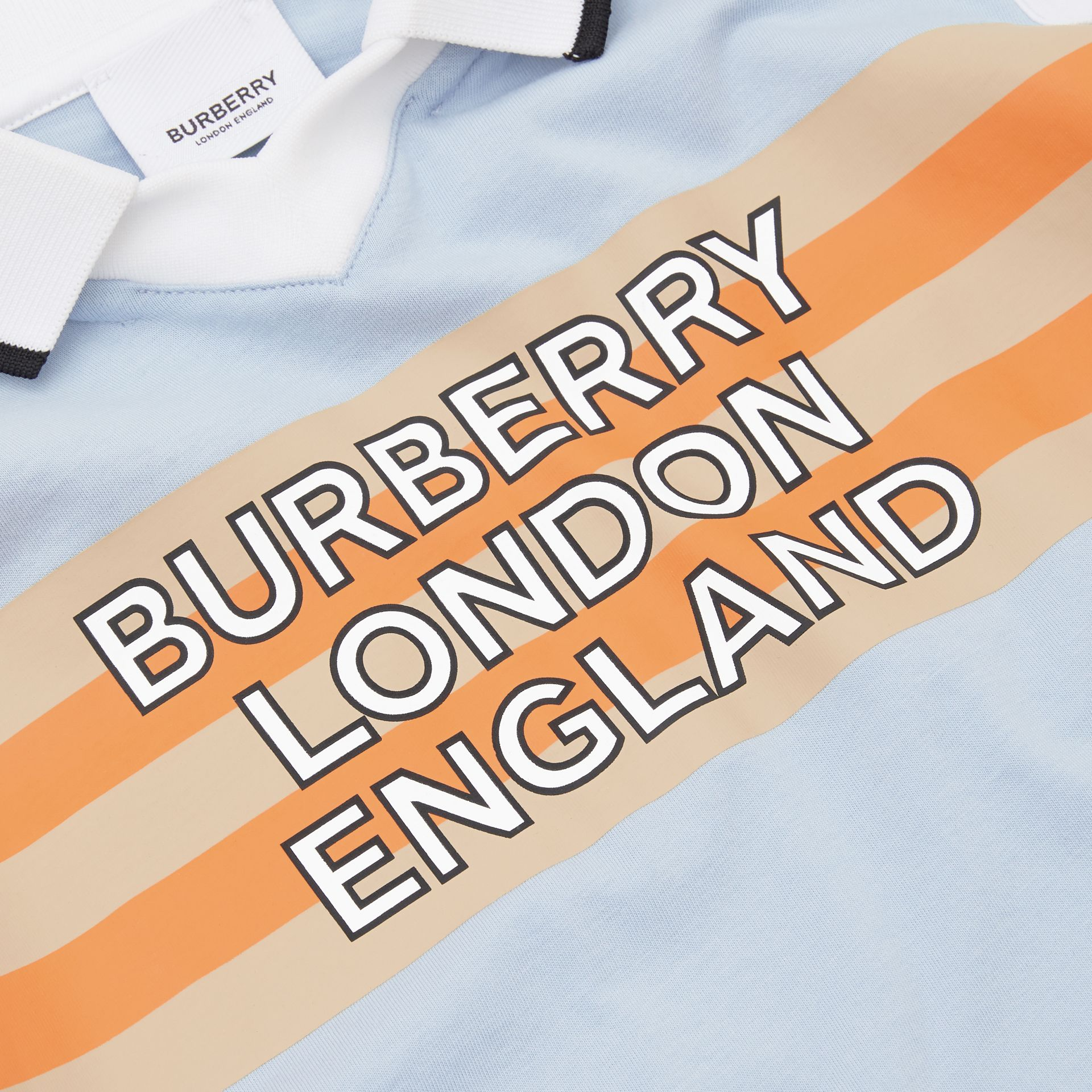 Logo Print Cotton Polo Shirt in Light Blue | Burberry United States - gallery image 1