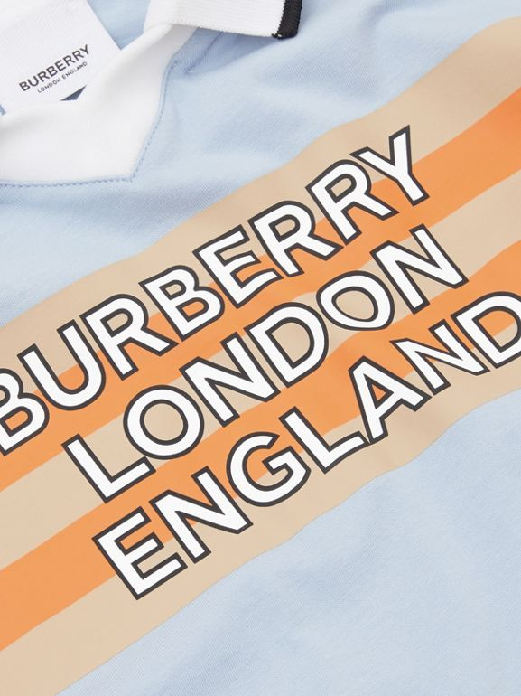 Logo Print Cotton Polo Shirt in Light Blue | Burberry United States - cell image 1
