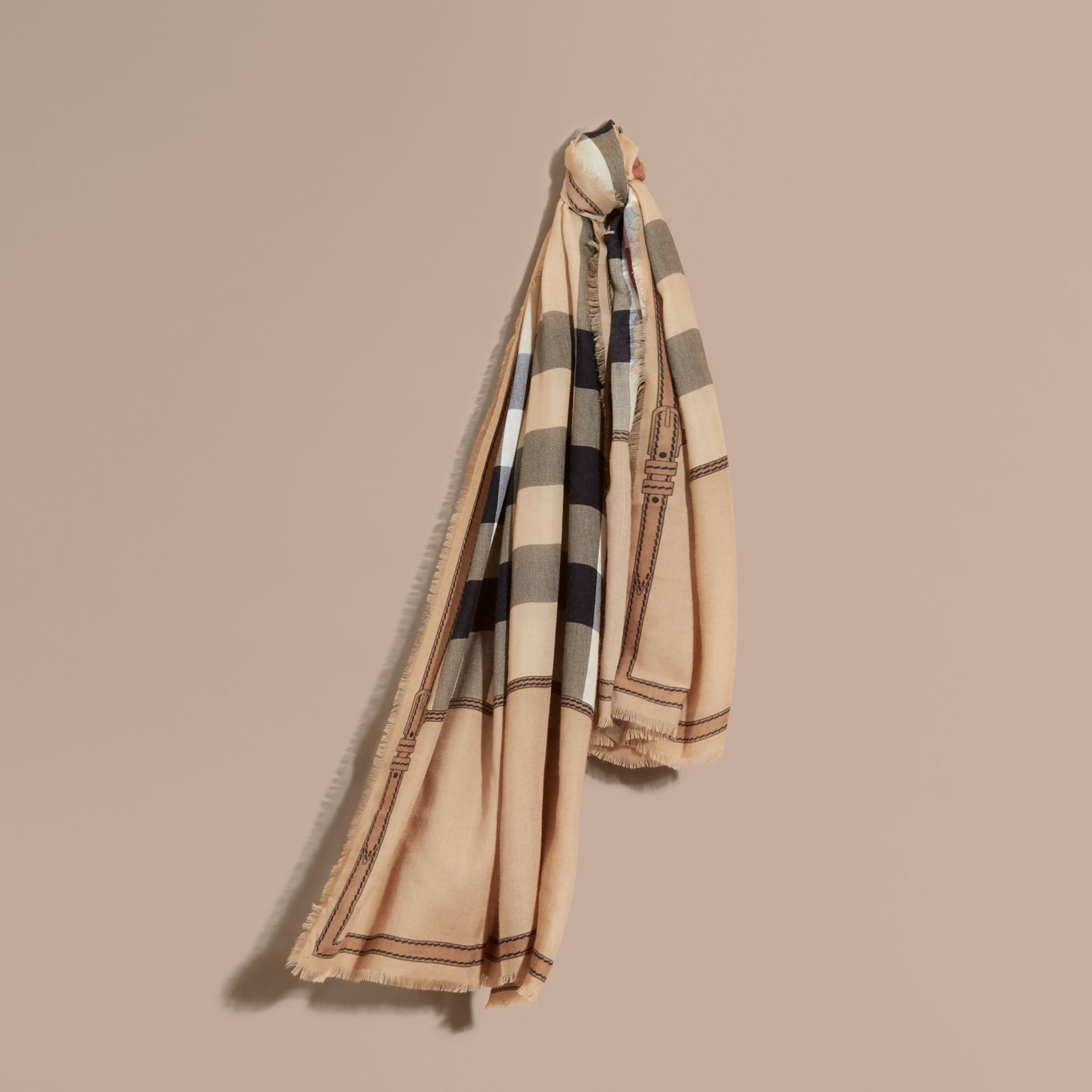 Contrast Border Horseferry Check Cashmere Scarf in Camel - gallery image 1