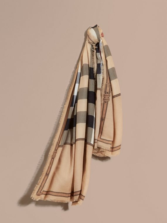 Contrast Border Horseferry Check Cashmere Scarf Camel