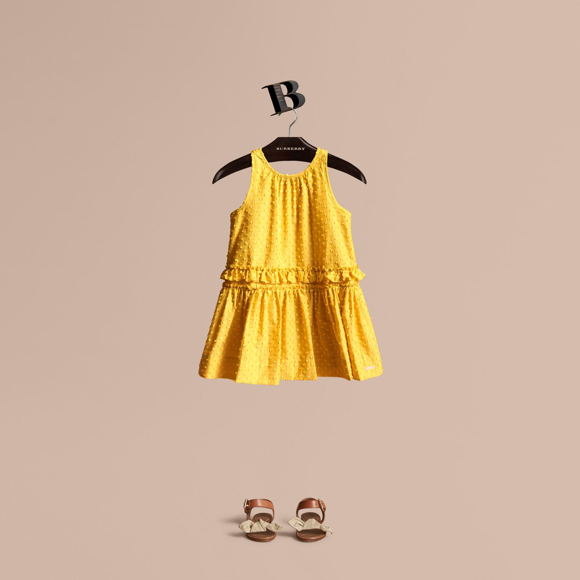 Dot Fil Coupé Cotton Silk Blend Dress - gallery image 1