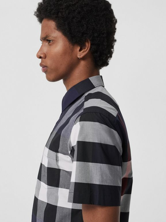 Short-sleeve Check Stretch Cotton Shirt in Navy - Men | Burberry United States - cell image 1