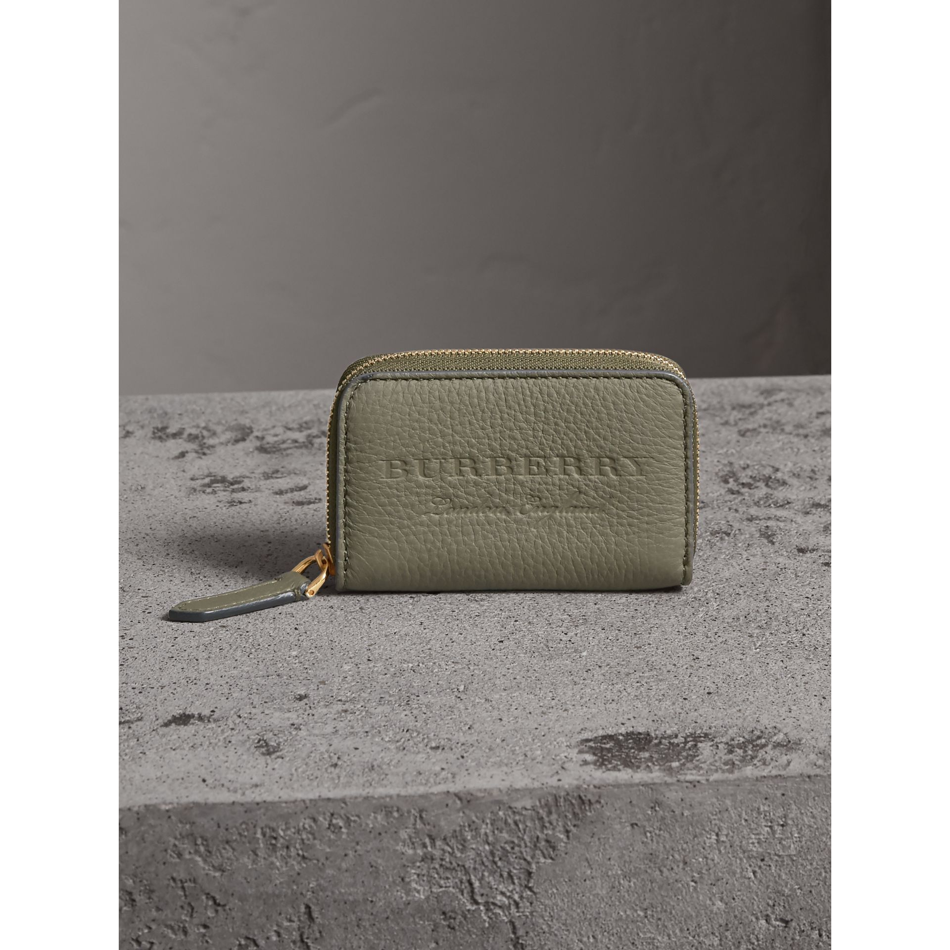 Textured Leather Ziparound Coin Case in Slate Green - Men | Burberry - gallery image 5