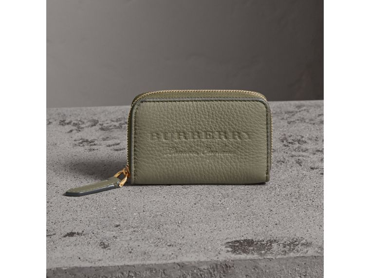 Textured Leather Ziparound Coin Case in Slate Green - Men | Burberry - cell image 4