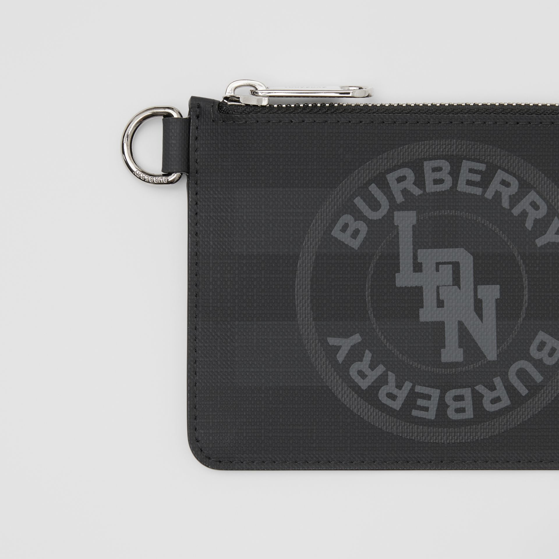 Logo Graphic London Check Zip Coin Case in Dark Charcoal - Men | Burberry - gallery image 1