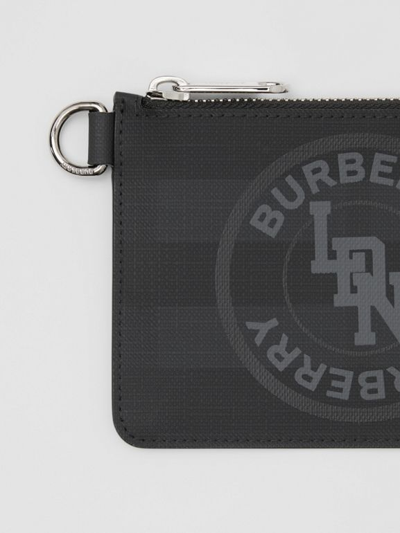 Logo Graphic London Check Zip Coin Case in Dark Charcoal - Men | Burberry - cell image 1