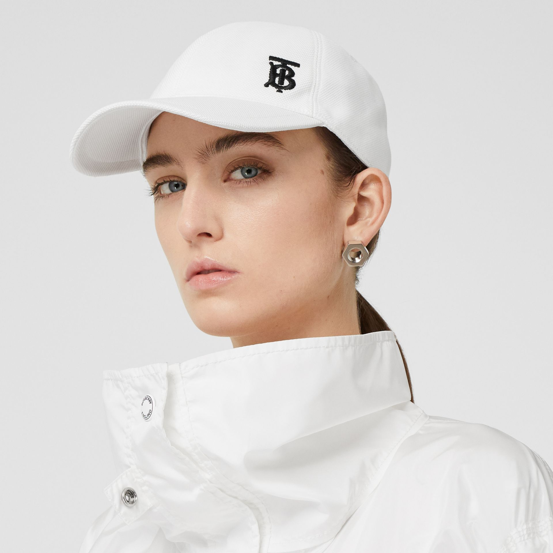 Monogram Motif Baseball Cap in White | Burberry - gallery image 2