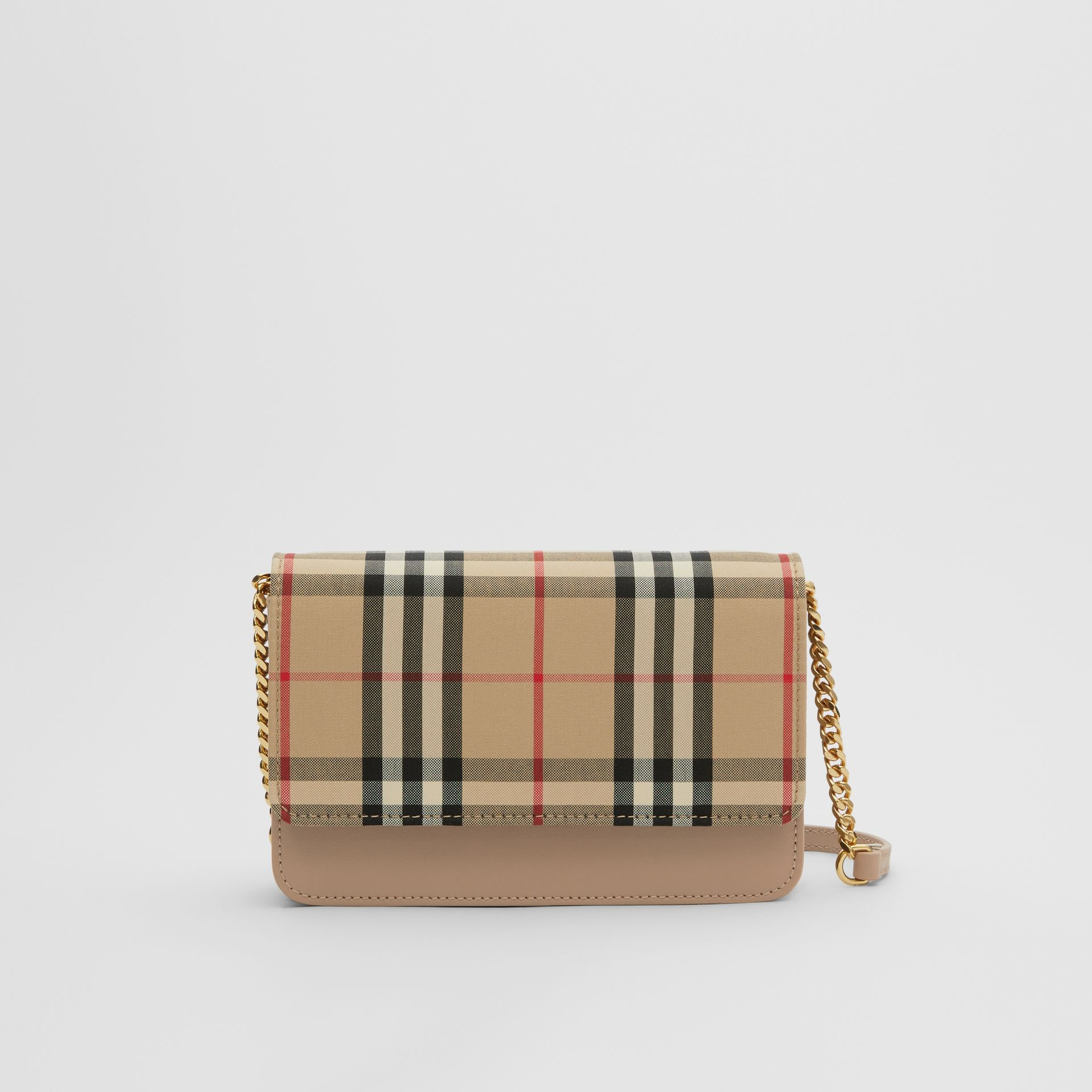 Vintage Check Canvas and Leather Bag in Honey - Women | Burberry - gallery image 0
