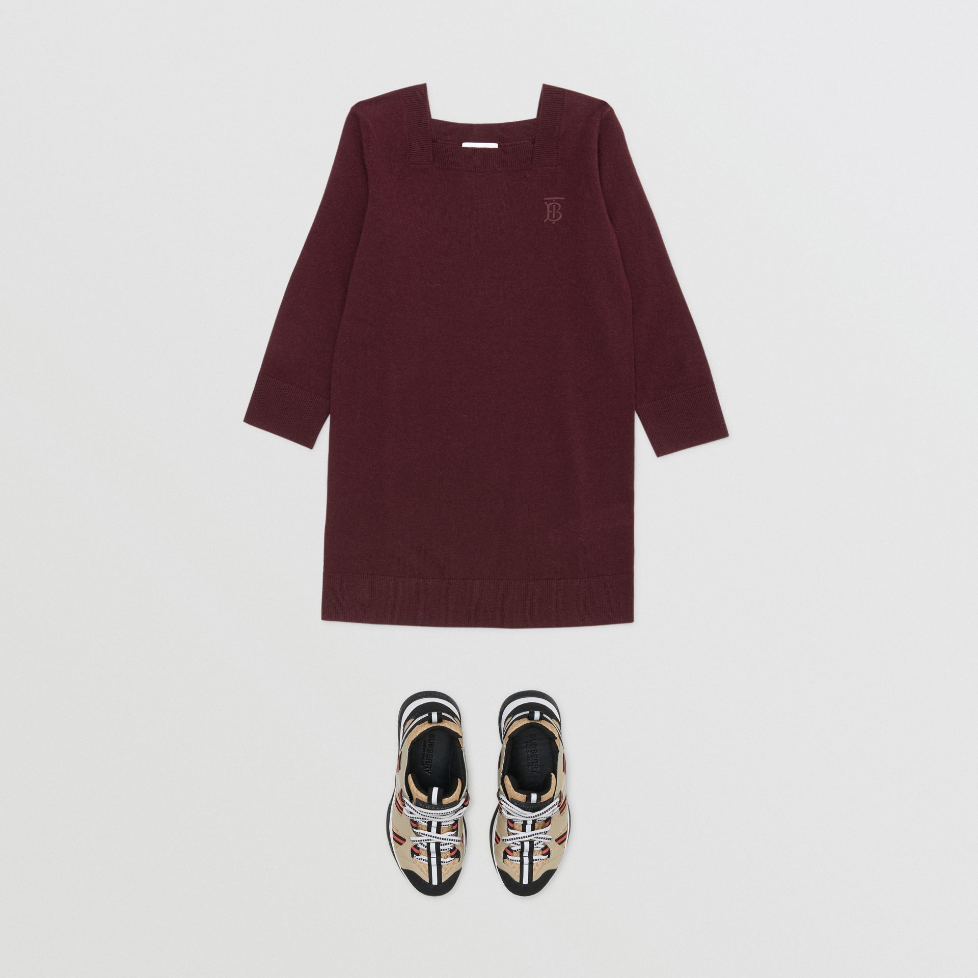 Monogram Motif Cashmere Sweater Dress in Burgundy | Burberry United Kingdom - gallery image 2
