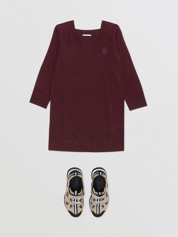 Monogram Motif Cashmere Sweater Dress in Burgundy