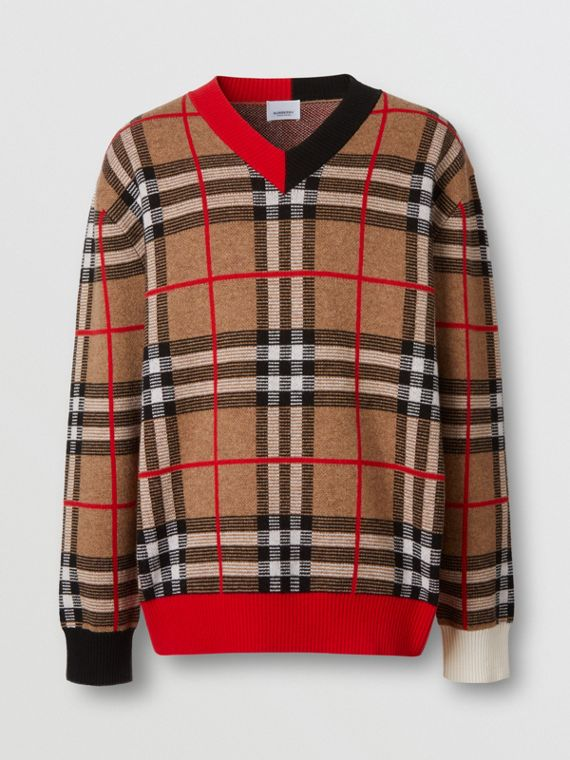 Pull à col en V en jacquard de laine mérinos check (Beige D'archive)