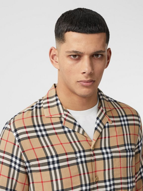 Short-sleeve Vintage Check Twill Shirt in Archive Beige - Men | Burberry United Kingdom - cell image 1