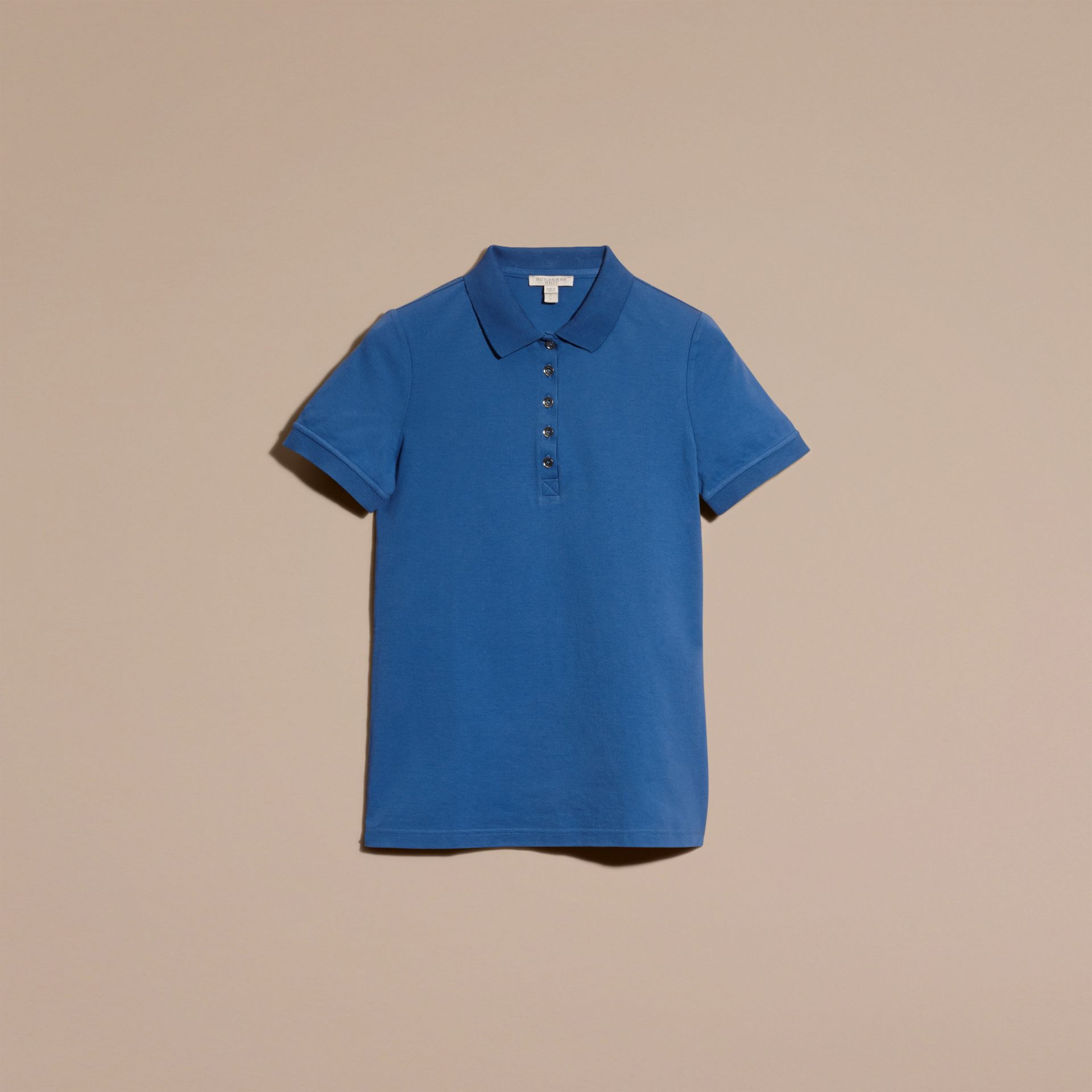 Bright cobalt Check Trim Stretch Cotton Piqué Polo Shirt Bright Cobalt - gallery image 4