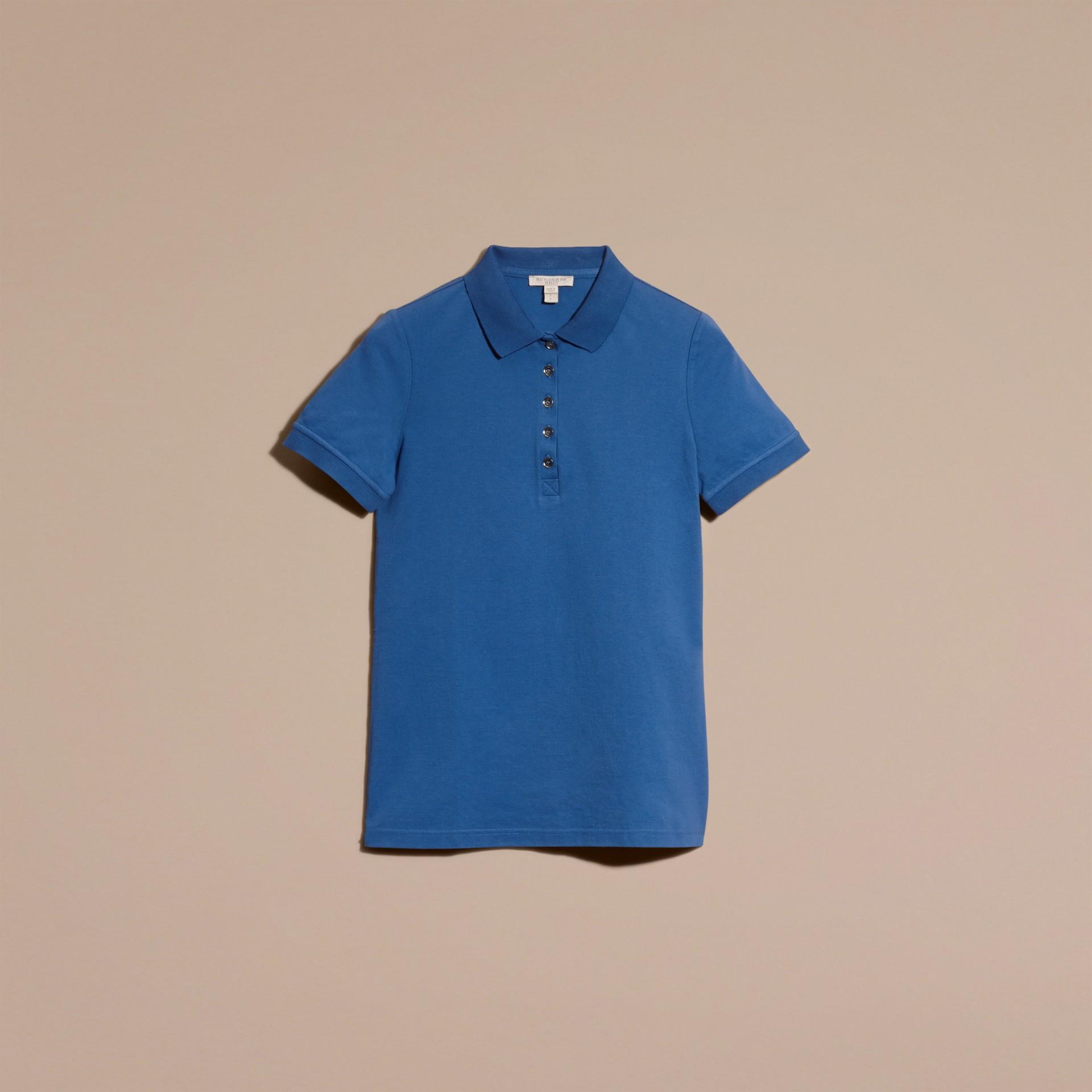 Cobalt vif Polo en piqué de coton extensible avec éléments check Cobalt Vif - photo de la galerie 4