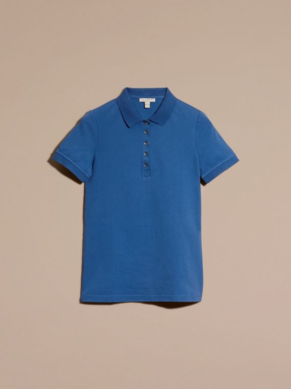 Bright cobalt Check Trim Stretch Cotton Piqué Polo Shirt Bright Cobalt - cell image 3