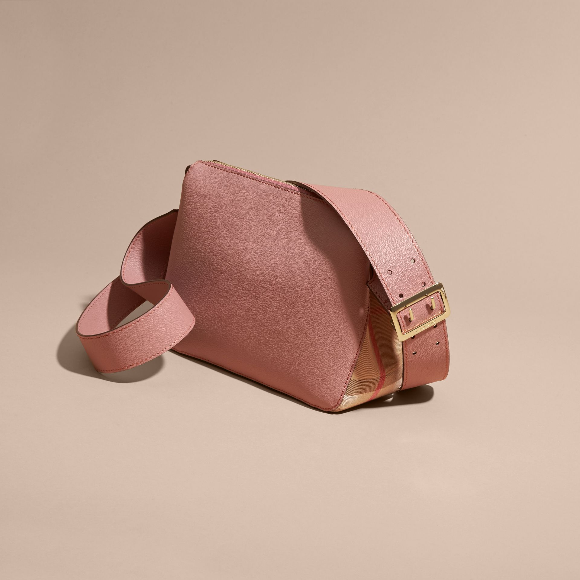 Buckle Detail Leather and House Check Crossbody Bag in Dusty Pink - gallery image 4