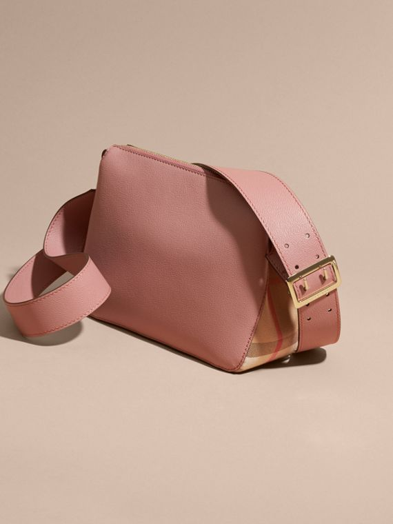 Buckle Detail Leather and House Check Crossbody Bag in Dusty Pink - cell image 3