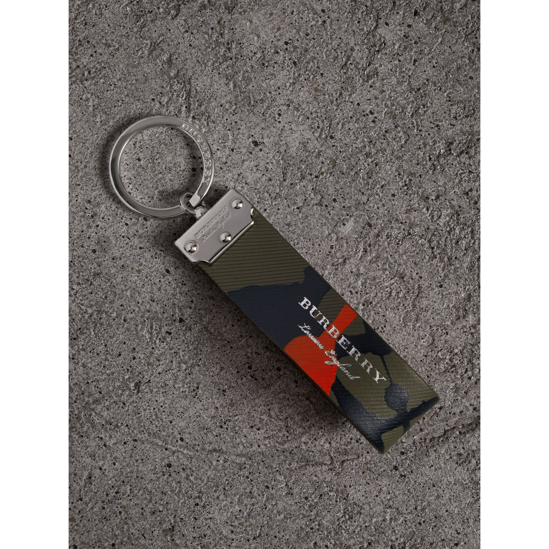Splash Trench Leather Key Ring in Slate Green/splash - Men | Burberry - gallery image 0