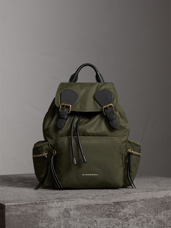 The Medium Rucksack in Technical Nylon and Leather in Canvas Green - Women | Burberry Singapore