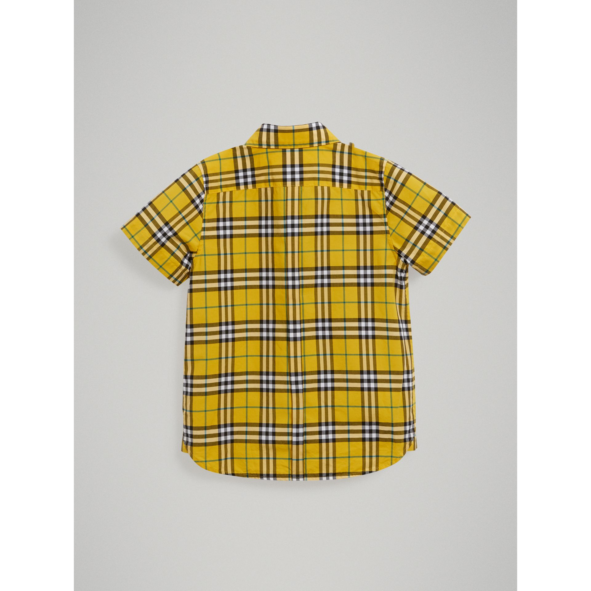 Short-sleeve Check Cotton Shirt in Bright Yellow - Boy | Burberry Australia - gallery image 3