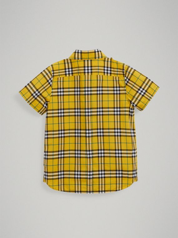 Short-sleeve Check Cotton Shirt in Bright Yellow - Boy | Burberry United Kingdom - cell image 3