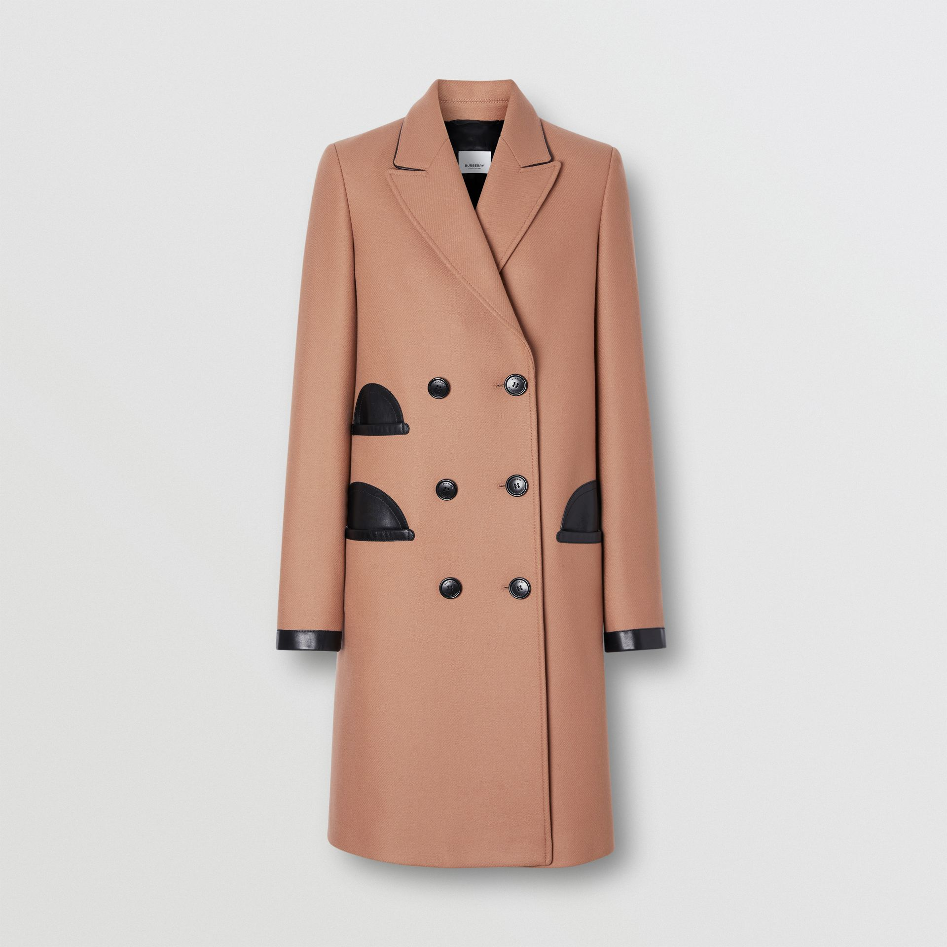 Lambskin Trim Wool Cashmere Blend Tailored Coat in Camel - Women | Burberry United Kingdom - gallery image 3