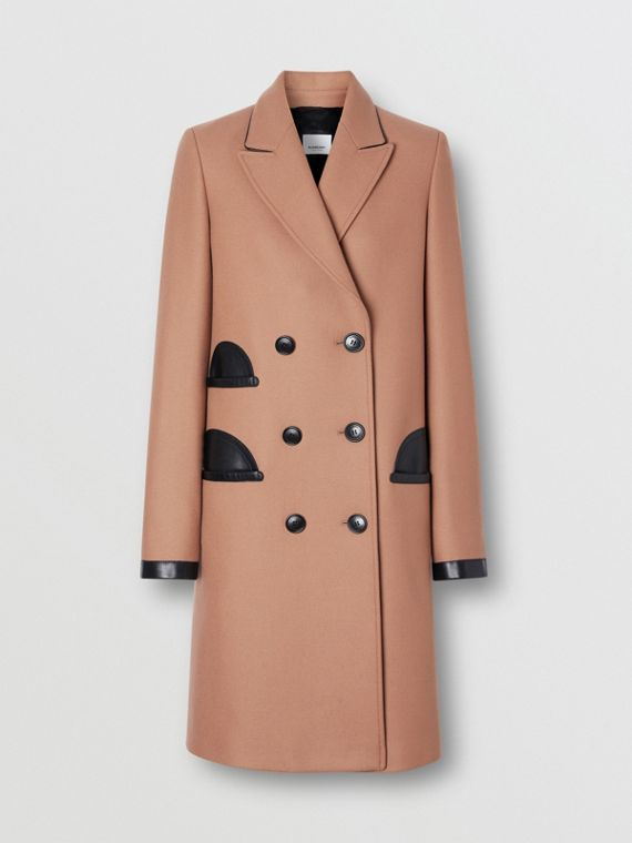 Lambskin Trim Wool Cashmere Blend Tailored Coat in Camel