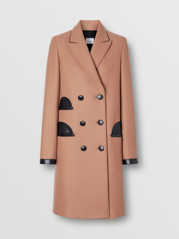 Lambskin Trim Wool Cashmere Blend Tailored Coat in Camel - Women | Burberry United Kingdom - cell image 3