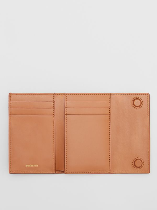Horseferry Print Leather Folding Wallet in Nutmeg - Women | Burberry - cell image 3