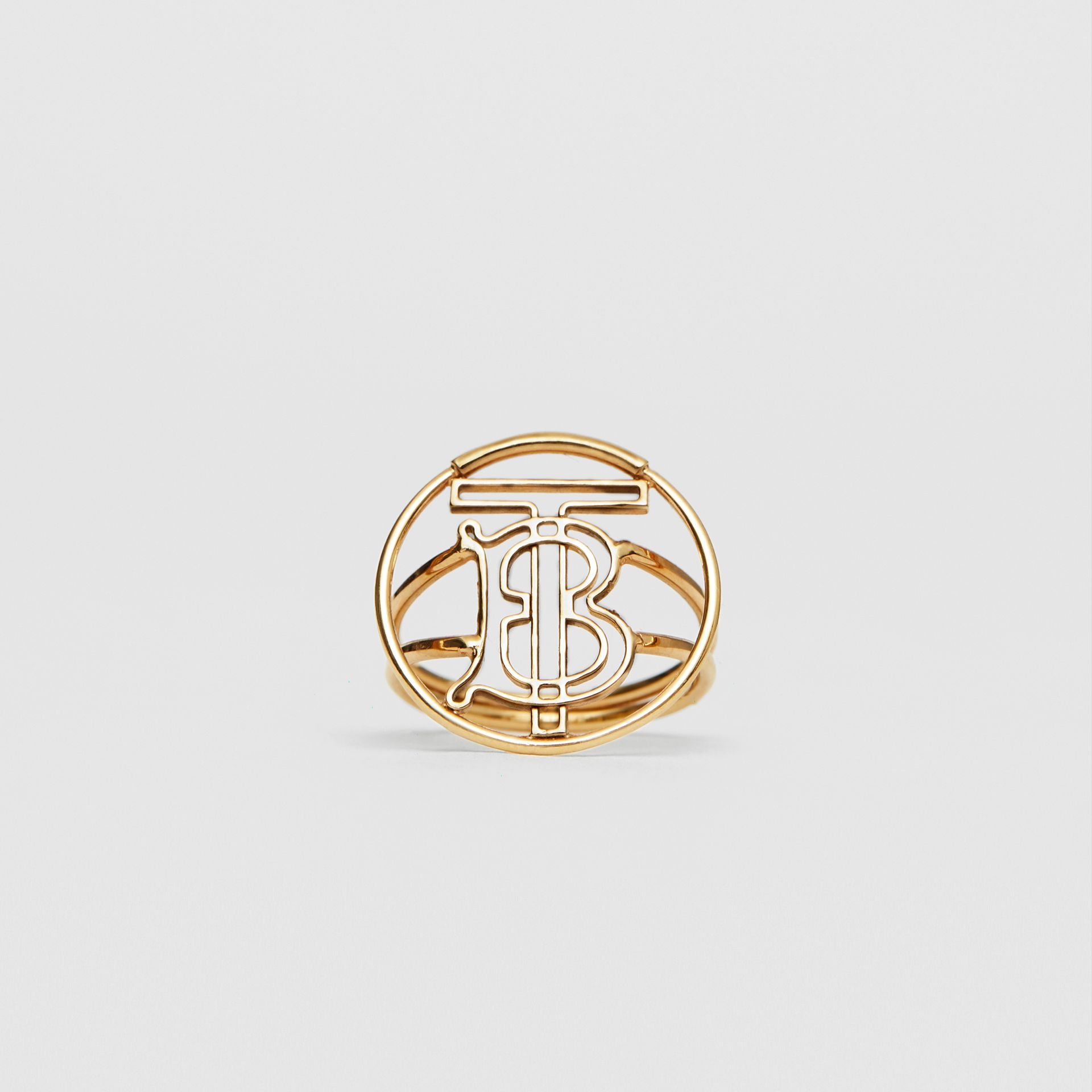 Gold-plated Monogram Motif Ring in Light - Women | Burberry - gallery image 0