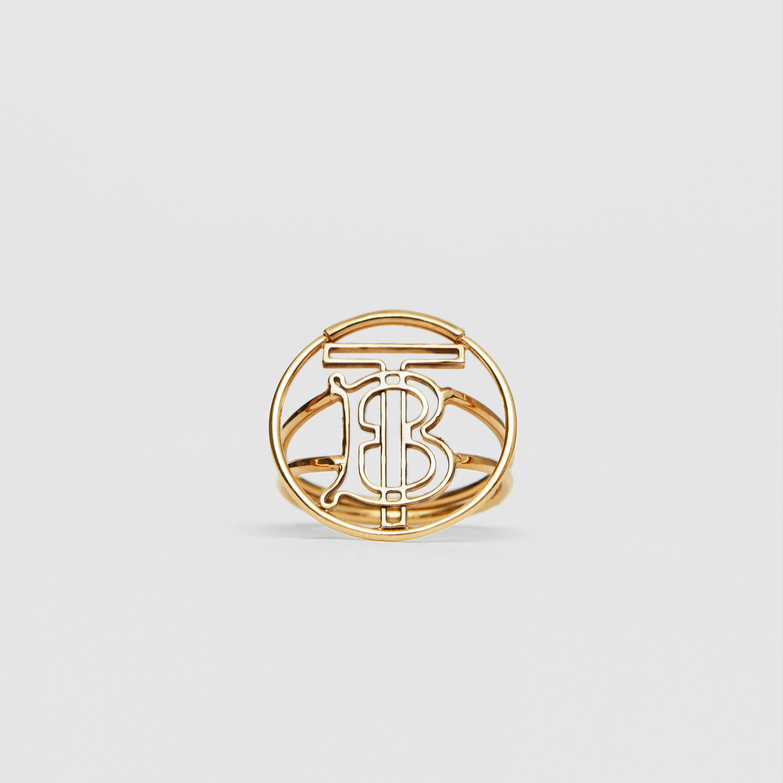 Gold-plated Monogram Motif Ring in Light - Women | Burberry - 1