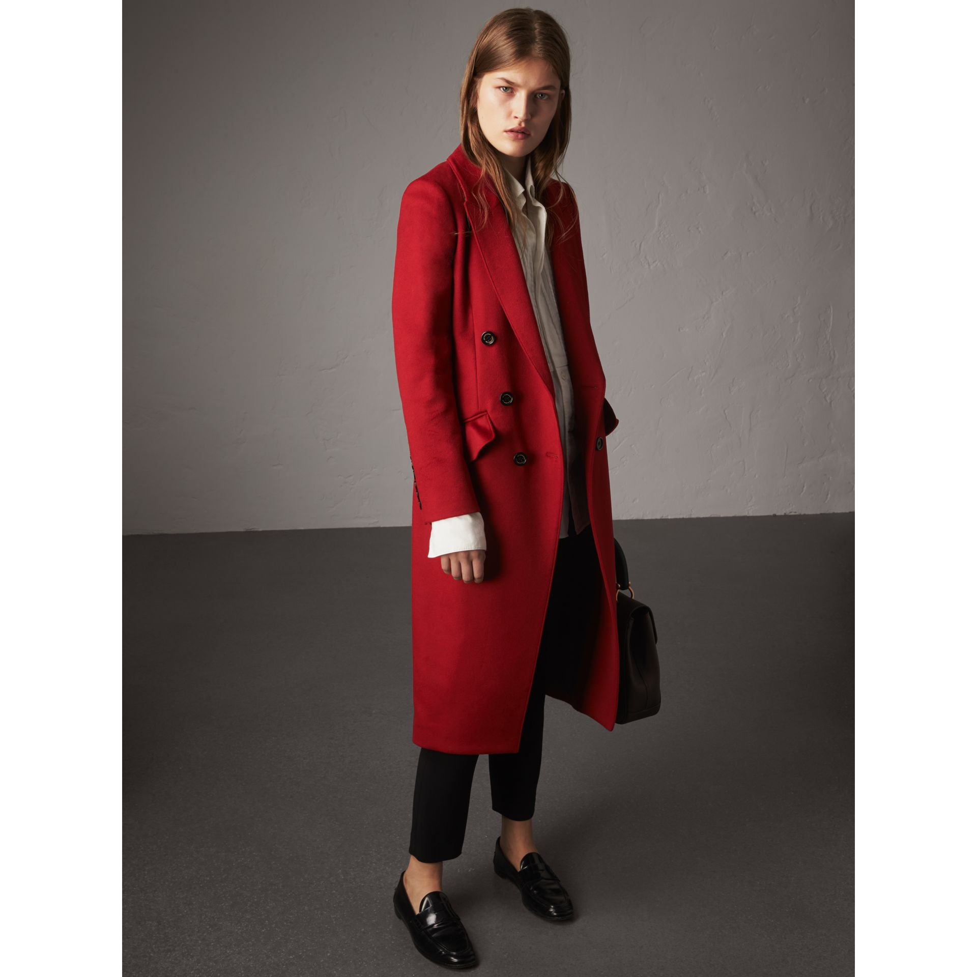 Ruffle Detail Wool Cashmere Tailored Coat in Military Red - Women | Burberry Australia - gallery image 1