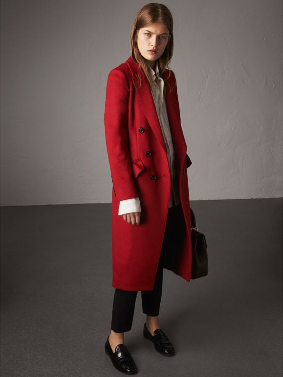 Ruffle Detail Wool Cashmere Tailored Coat in Military Red - Women | Burberry