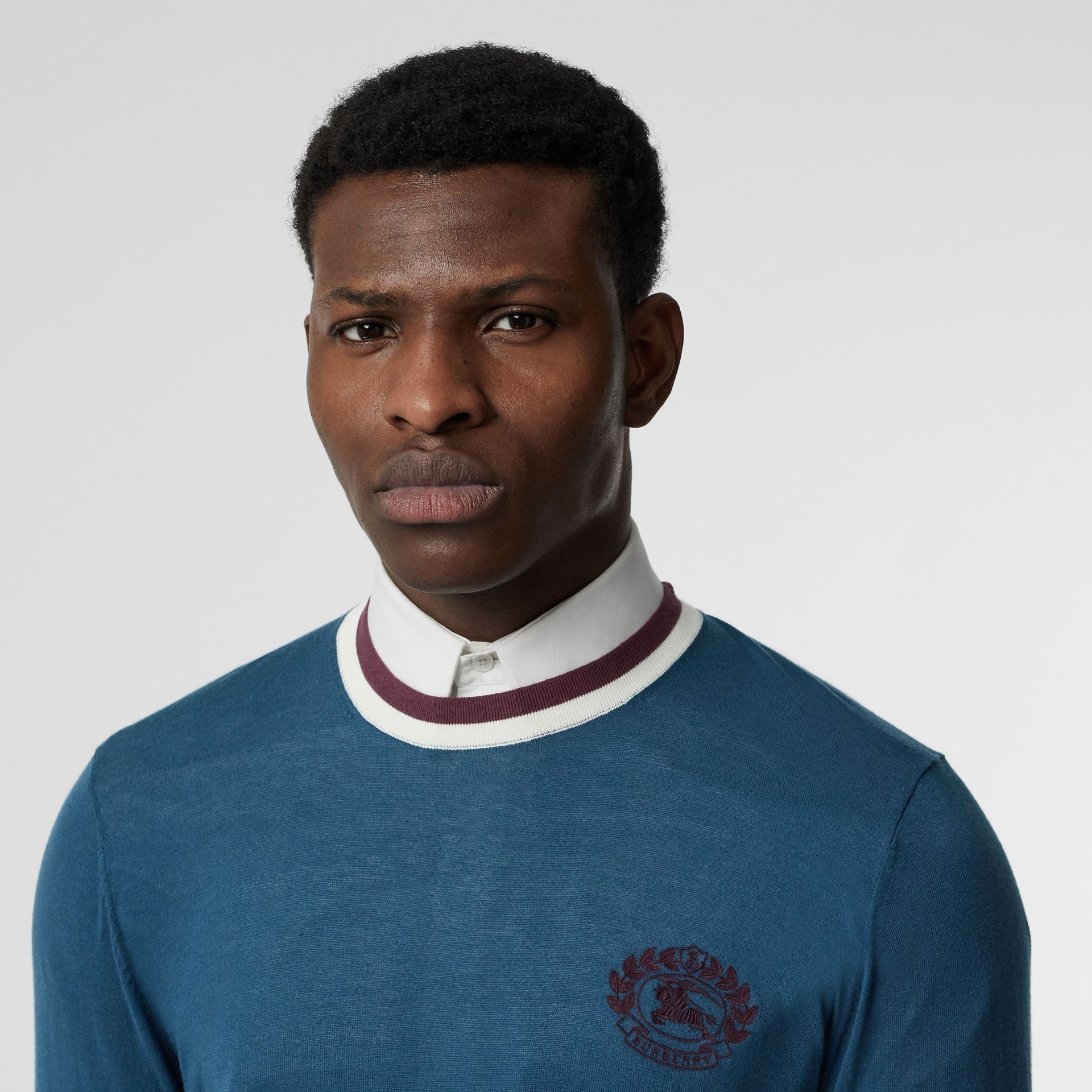 Embroidered Crest Cotton Silk Sweater in Dark Teal Blue - Men | Burberry - gallery image 1