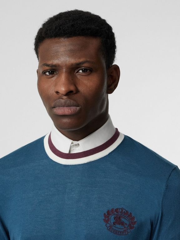Embroidered Crest Cotton Silk Sweater in Dark Teal Blue - Men | Burberry - cell image 1