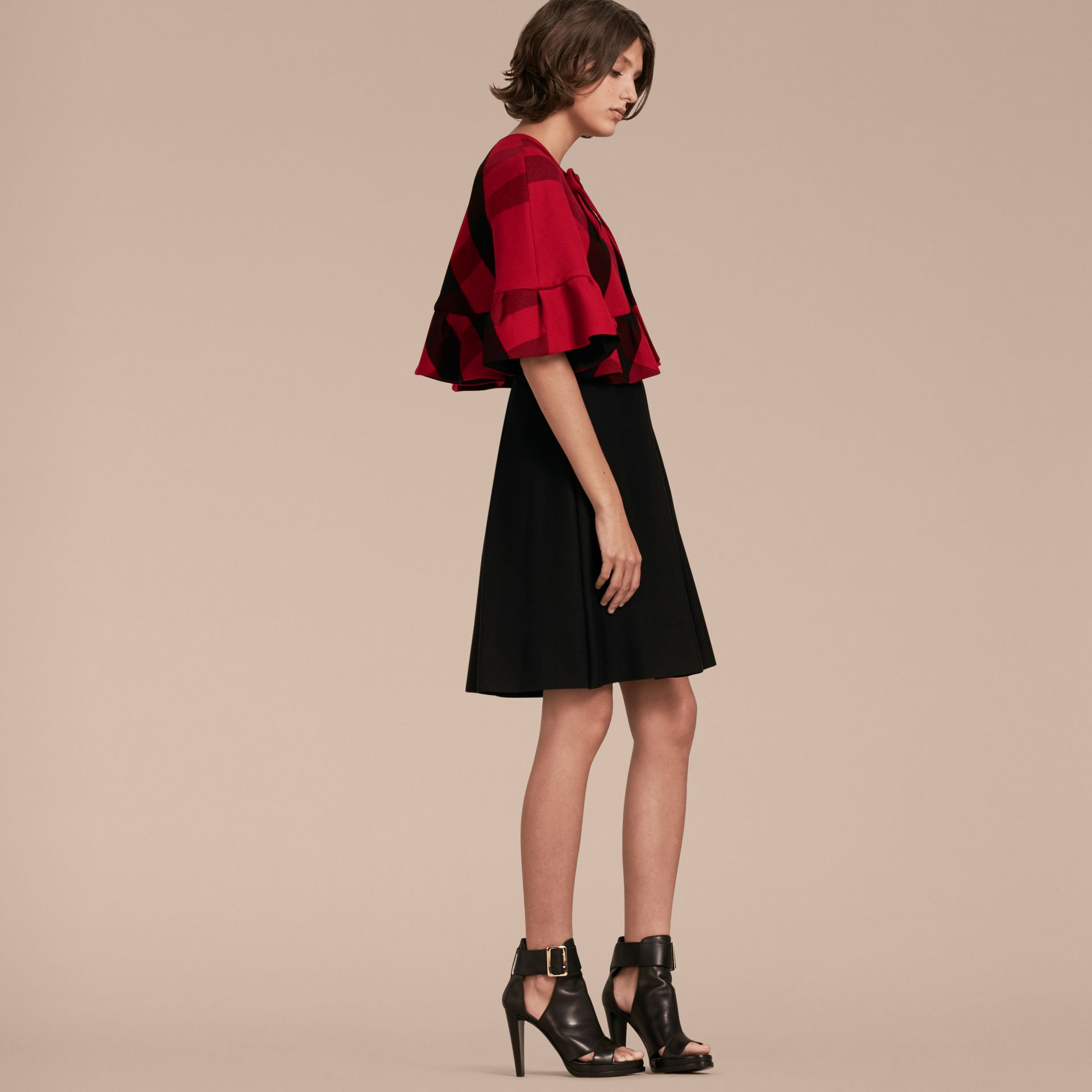 Ruffled Hem Check Wool Cape in Parade Red - gallery image 6