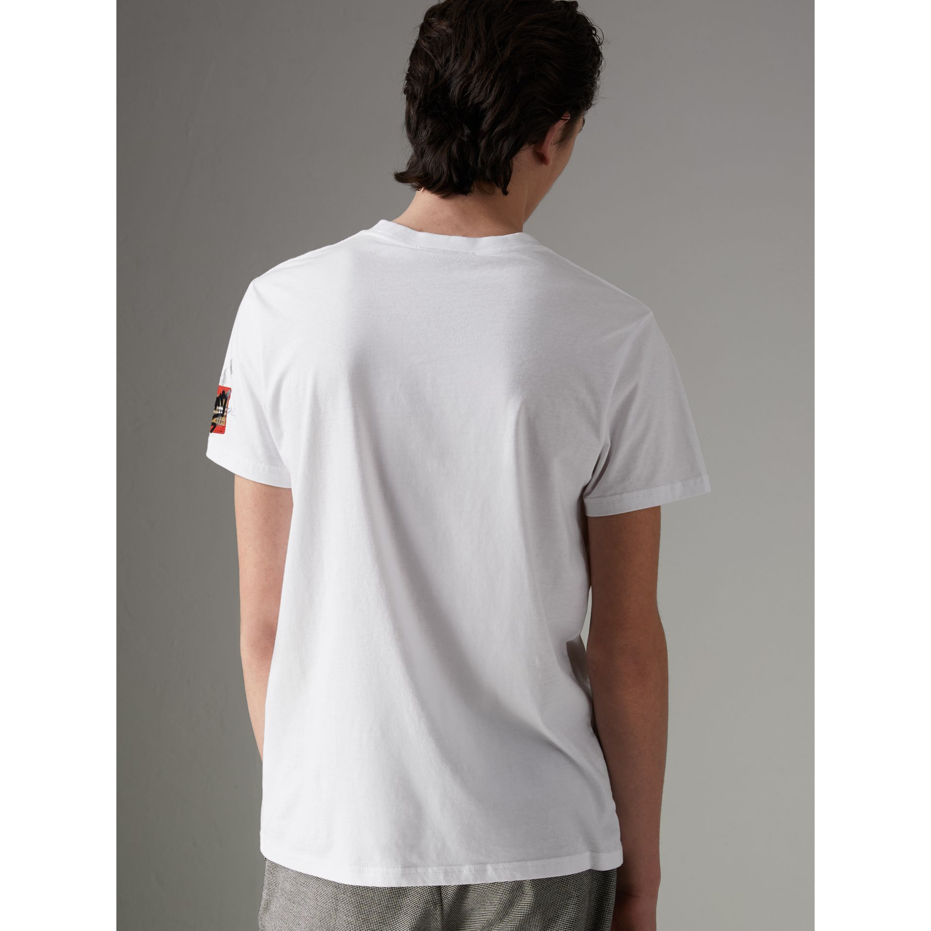 Graffitied Ticket Print T-shirt in White - Men | Burberry United Kingdom - gallery image 2