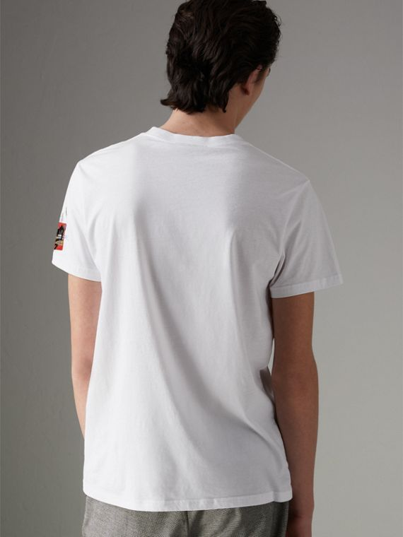 Graffitied Ticket Print T-shirt in White - Men | Burberry - cell image 2