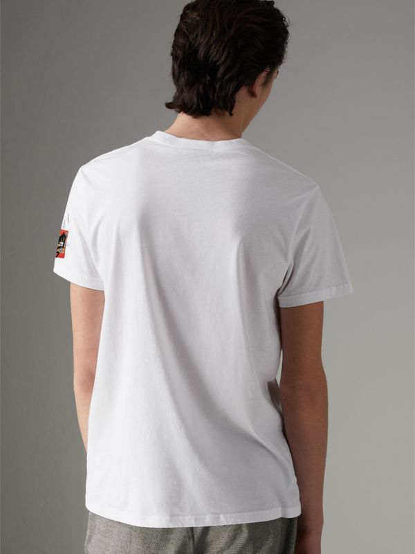 Graffitied Ticket Print T-shirt in White - Men | Burberry United Kingdom - cell image 2
