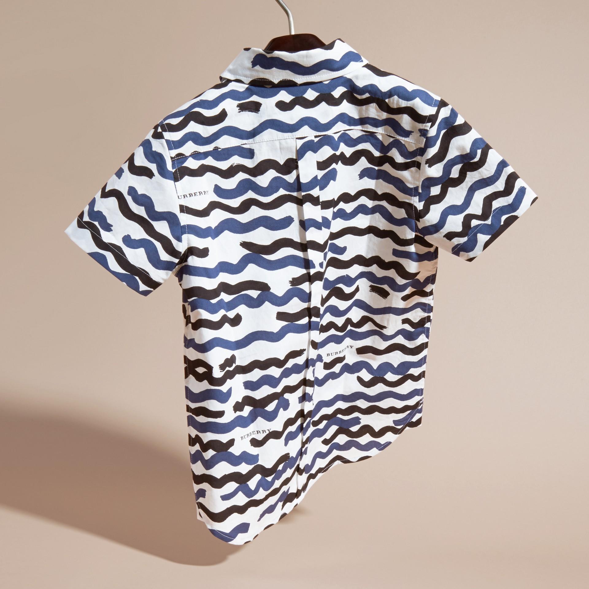 Short-sleeve Waves Print Cotton Shirt - gallery image 4