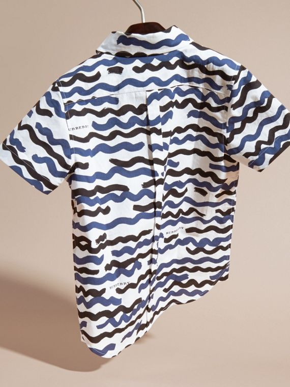 Short-sleeve Waves Print Cotton Shirt - cell image 3