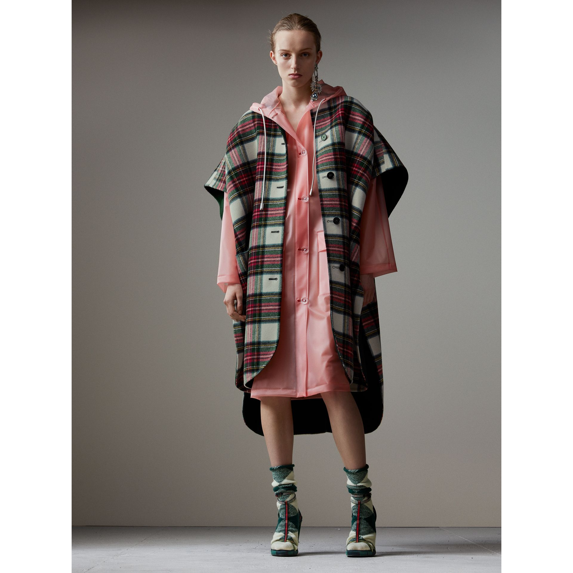 Reversible Tartan Oversized Poncho in Natural White/bottle Green | Burberry United Kingdom - gallery image 0