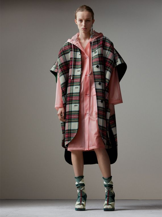 Reversible Tartan Oversized Poncho in Natural White/bottle Green