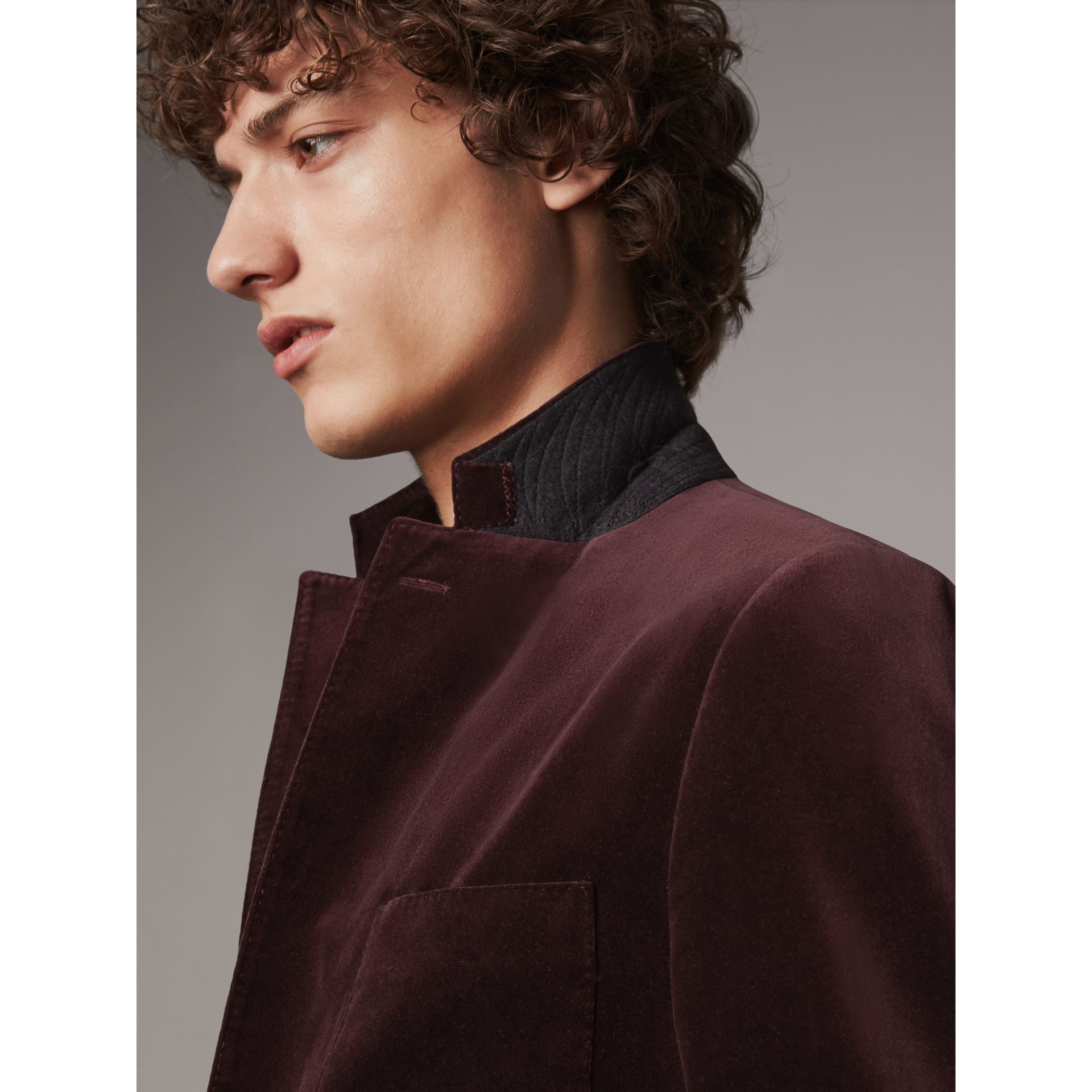 Soho Fit Velvet Tailored Jacket in Blackcurrant - Men | Burberry United Kingdom - gallery image 1